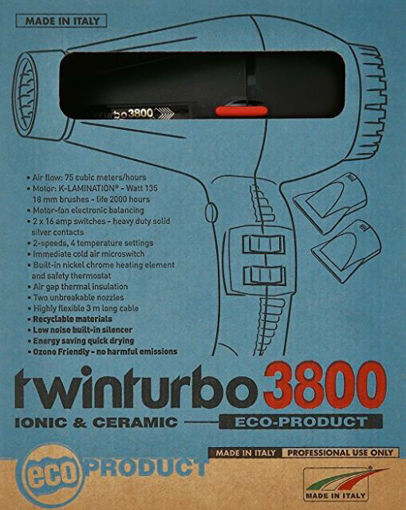 Picture of 3800 black twin turbo ceramic and ionic hair dryer
